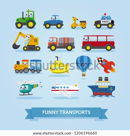 Set of cars, vehicles, other transportation on white. vector illustration. Funny cartoon style