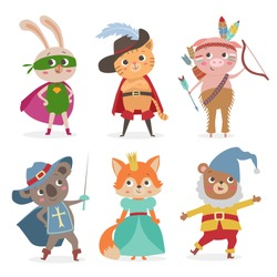 Set of cartoon animal kids in costume for party. Vector illustration
