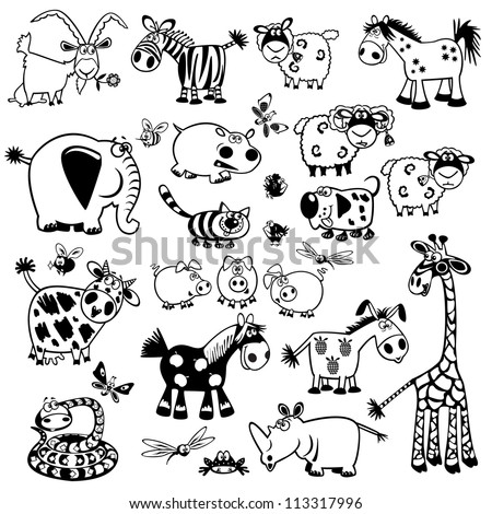 set of cartoon animals black