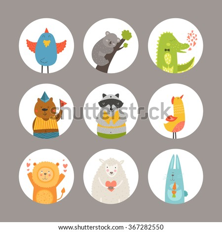 set of cartoon animals  cute