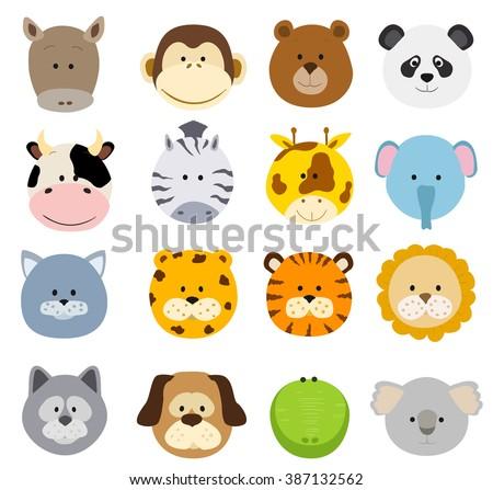 Set Of Cartoon Animals Faces Vector