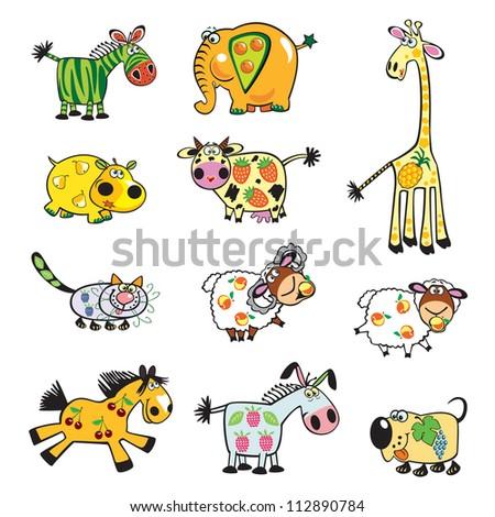 Stock vector set of cartoon animals fruits and berries cute vector