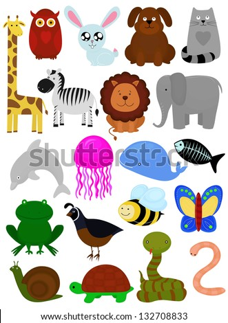 set of cartoon animals isolated on white