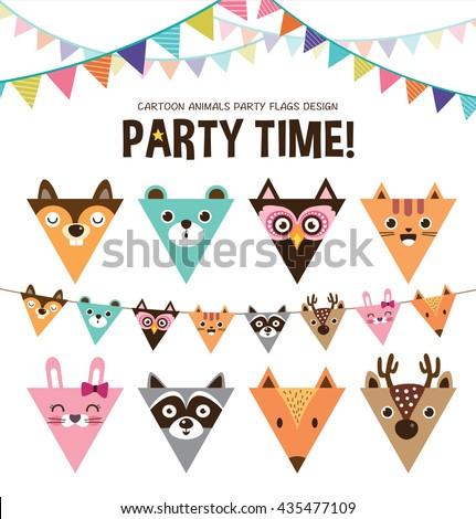 set of cartoon animals party