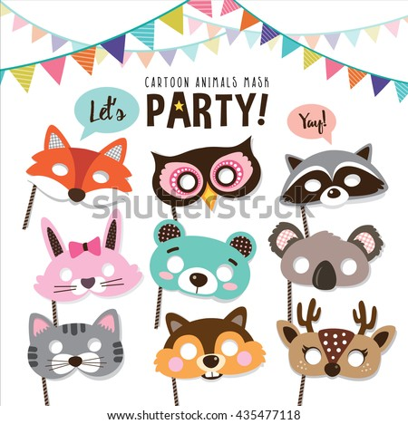 set of cartoon animals party