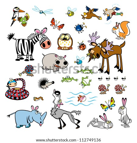 set of cartoon animals,vector pictures isolated on white background,children illustration for babies and little kids