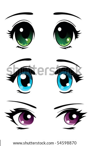 set of cartoon anime eyes
