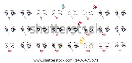 Set of cartoon anime style expressions. Different eyes, mouth, eyebrows. Blue eyes, pink lips. Hand drawn vector illustration isolated on white background.