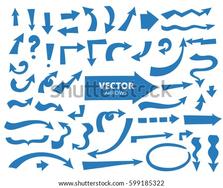Set of cartoon arrows, blue color. Hand drawn design elements isolated on white, vector illustration.  #599185322