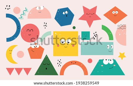 Set of cartoon basic geometric shapes with face smiling. Funny shapes educational material for preschool kids. Hand drawn trendy Vector illustration for kids. All elements are isolated