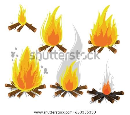 set of cartoon bonfires on...