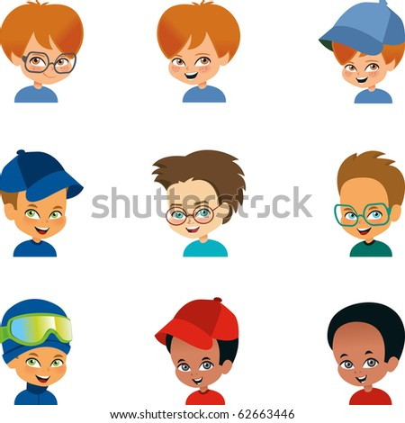 set of 9 cartoon boy portraits