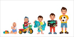set of cartoon boys, age chart, 5 stages of development, vector illustration, big black eyes, black hair, Asian, Arab, Latino, Caucasian