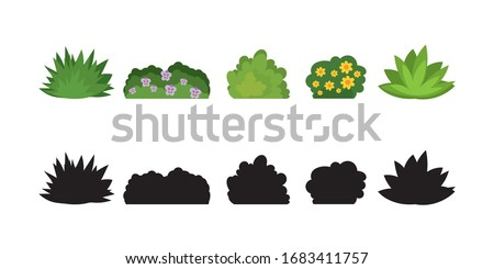 Set of cartoon bushes in flat style. Collection green plants and black silhouettes, isolated on white background. Elements of natural flora. Different type of shrubs with flowers. Vector illustration Stock photo ©