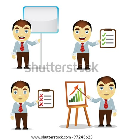 Set of cartoon business man give presentation