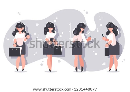 Set of cartoon businesswomen character design. Smiling woman in white blouses and black skirts standing with briefcases on charts background flat style vector illustration. Front back and side view
