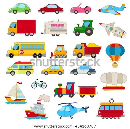 set of cartoon cars  vehicles