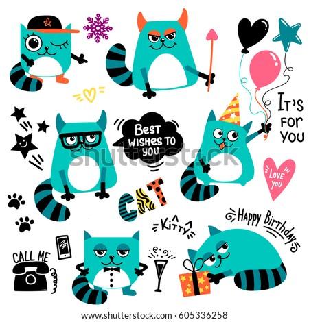 set of cartoon cats character
