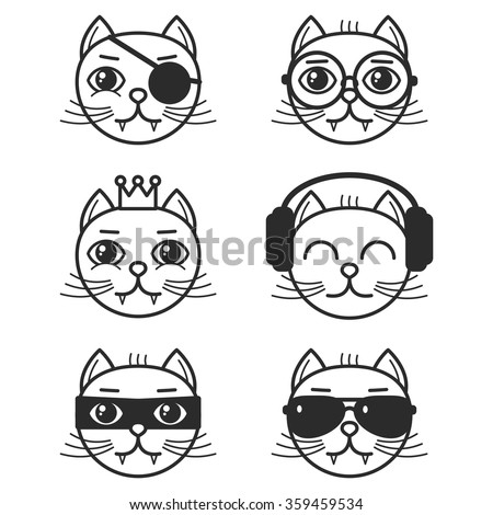 set of cartoon cats on white