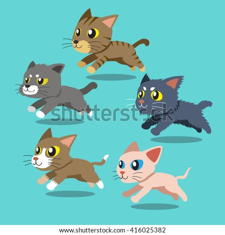 set of cartoon cats running