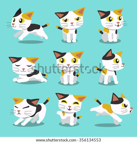 set of cartoon character cat