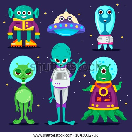 set of cartoon characters. aliens. UFO. vector illustration