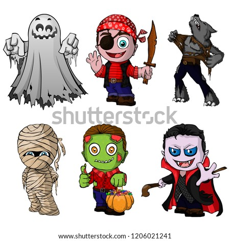set of cartoon characters for