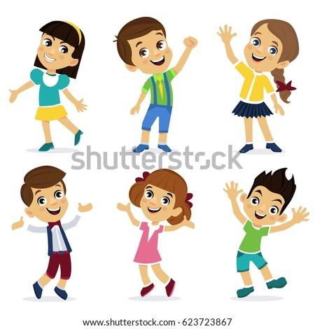 Set of cartoon characters, happy girls and boys. School children. Cute schoolchild. Cartoon characters - stock vector