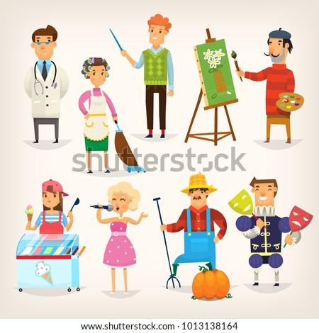 Set of cartoon characters of different professions. Variety of people doing their jobs. Isolated vector illustrations