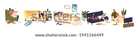 Set of cartoon characters relaxing during weekend at home sleeping, surfing internet and watching tv. Lazy weekend recreation concept. People having rest. Flat vector illustration Сток-фото ©