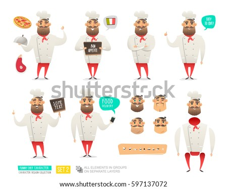 Set of Cartoon Chef Character with different emotions and poses for decoration menu, restaurant. Vector Character Templates for design your scene and animation. Cook holding tray, steak, pizza in hand