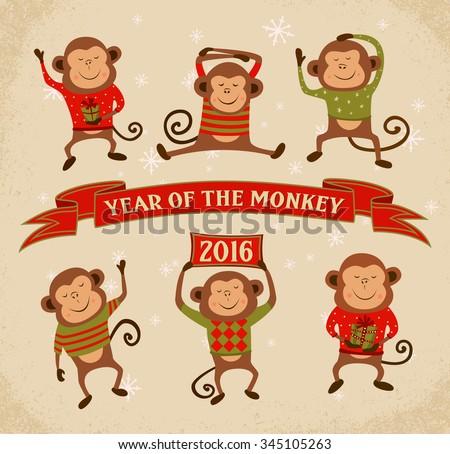 Set of 6 Cartoon Chinese Zodiac Monkeys - 2016 New Year Symbol. Vector illustration.