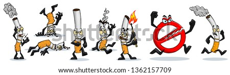 set of cartoon cigarettes with