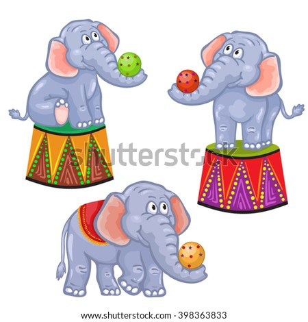 set of cartoon circus elephant