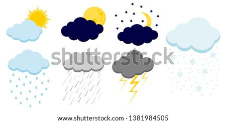 set of cartoon clouds icons