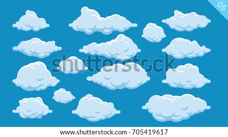 set of cartoon clouds on a blue