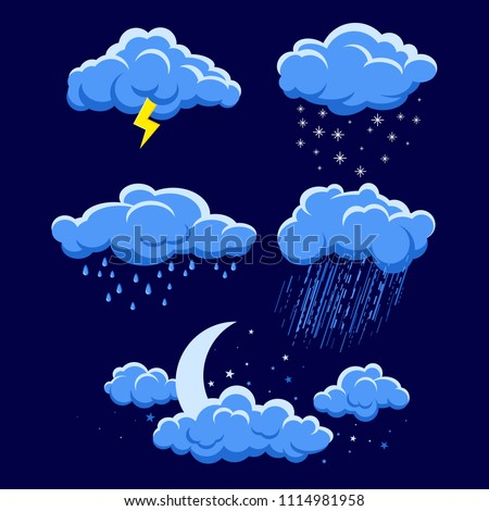 Set of cartoon clouds on dark blue night sky. illustration of different weather. rain, storm, lightning, snow, moon light sky with stars. Clouds vector collection. Cloudscape in dark blue sky