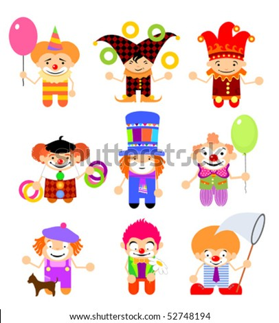 Set of cartoon clowns
