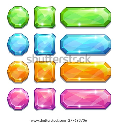 set of cartoon colorful crystal