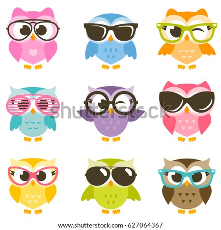 set of cartoon colorful owls