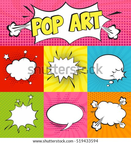 Set of Cartoon,Comic Speech Bubbles in Pop Art Style. Vector illustration for posters, social media banners, email and newsletter designs promotional material