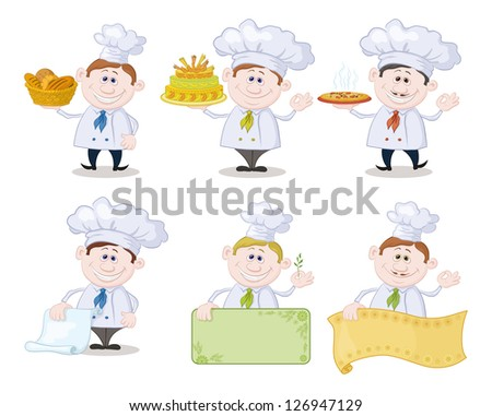 Set of cartoon cooks, chefs: hold basket of bread, cake, pizza, menus, posters. Vector