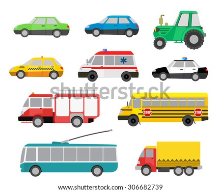 set of cartoon cute cars and