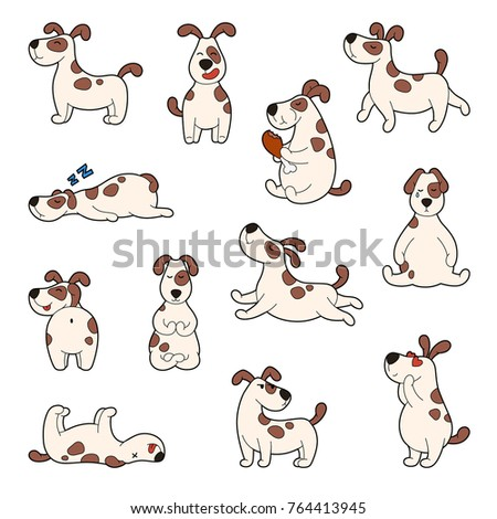 Set of cartoon cute dog stickers. Doodle patches with different emotions, joy, sleep, sadness, love. new year 2018
