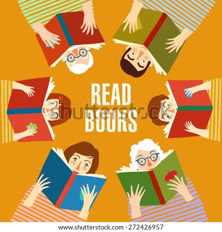 Set of cartoon different age people reading books.  Educational poster. Vector illustration.