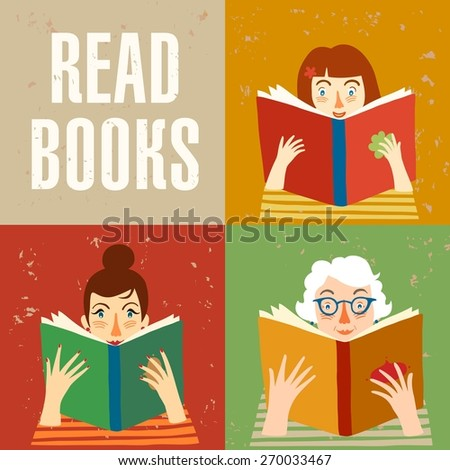 Set of cartoon different age people reading books on grunge background. Vector illustration.