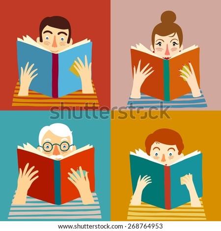 Set of cartoon different age people reading books. Vector illustration.