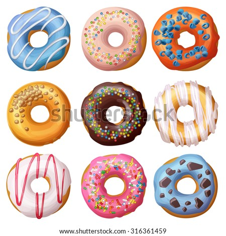 Set of cartoon donuts isolated on white background. Vector illustration