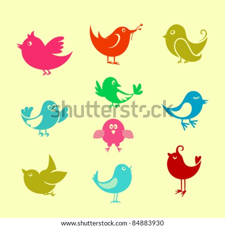 Set of cartoon doodle birds icons for communication networks design, such a logo. Rasterized version also available in gallery