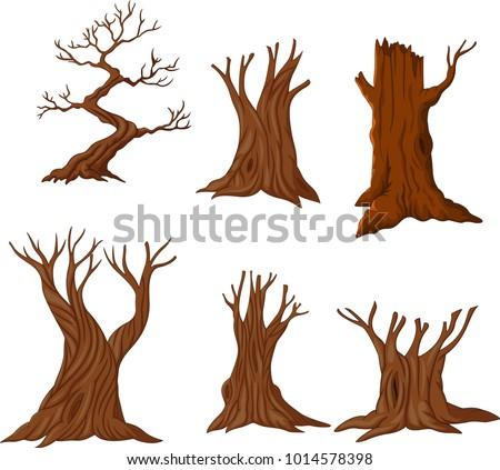 set of cartoon dry trees